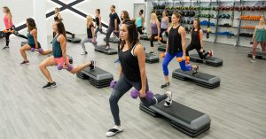 Step fitness class at Mountainside Fitness Group X Movement Studio Fitness