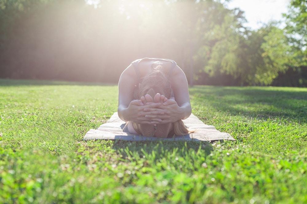Stretching on Grass