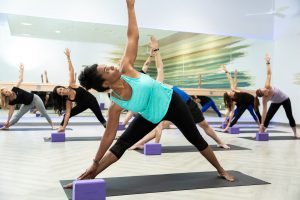 Studio fitness yoga class at Mountainside Fitness yoga studio